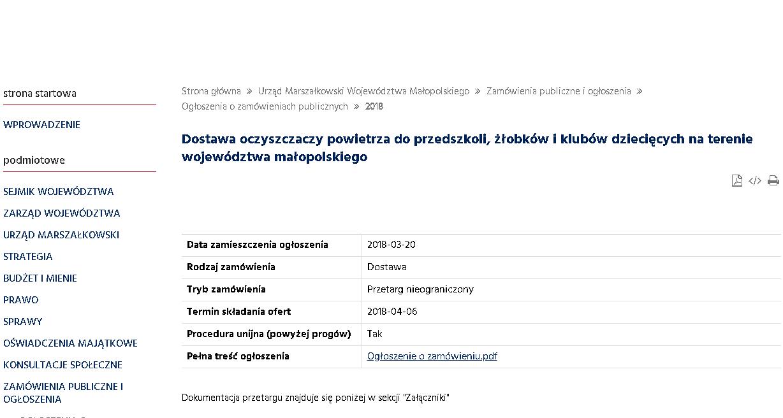 Przetarg - zamówienie publiczne na oczyszczacze powietrza dla małopolskich przedszkoli i żłobków