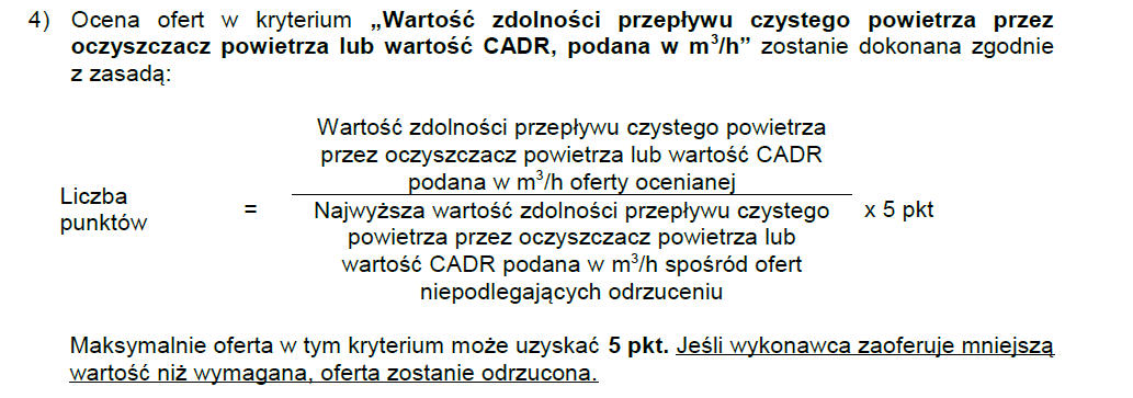 Sposób obliczania punktów dla kryterium CADR w przetargu na oczyszczacze powietrza do przedszkoli w Małopolsce