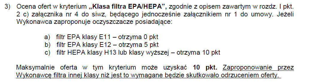 Sposób obliczania punktów dla kryterium klasy filtra HEPA/EPA w przetargu na oczyszczacze powietrza do przedszkoli w Małopolsce