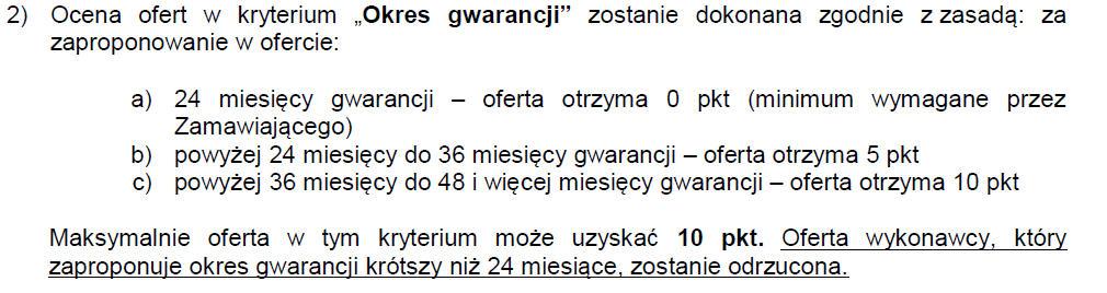 Sposób obliczania kryterium okresu gwarancji w przetargu na oczyszczacze powietrza do przedszkoli w Małopolsce